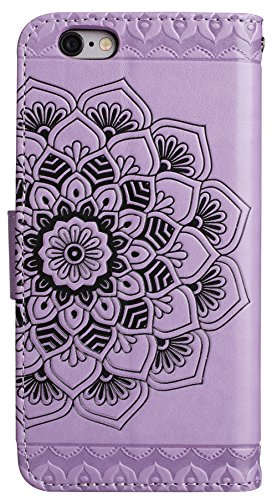 Nnopbeclik® Apple Iphone 6s Plus Hülle Silikon, Flip PU Leder Case Für Apple Iphone 6 Plus, 3D Halbe Blume Design Handy Hülle Hochwertige Qualität Tasche Und Weich Schwarz TPU Stoßkasten Anti-Scratch  Lila