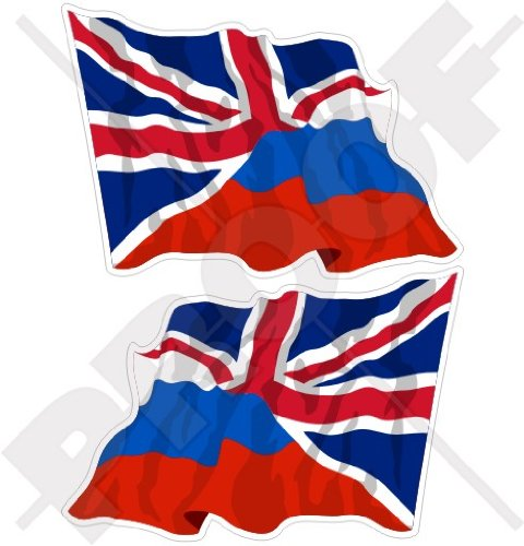 RUSSIA-United Kingdom Flag Russian-UK British Union Jack 75mm Stickers Decals x2