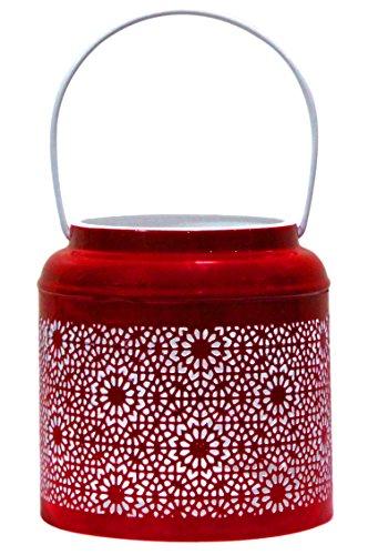 Orientalisches Windlicht Laterne orientalisch Baki 15cm Rot Groß | Orientalische Vintage Teelichthalter Goldfarben innen und außen | Marokkanische Windlichter aus Metall als Ostern Dekoration