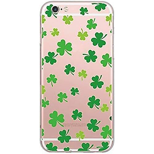 dia del orgullo friki Inonler Las hojas las hojas de color suave de un interesante transparente funda ()(iPhone 7,Verde)