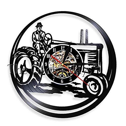 AIYOUBU 1 Stück Landwirt Auf Traktor Led-leuchten Traktor Personalisierte Wanduhr Vintage Schallplatte Uhr Dekorative Uhr Cropper GIF @ Ohne Led
