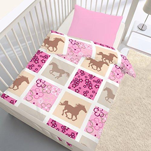 PFERDE Fein Biber Baby & Mädchen Bettwäsche · Pferde · Blumen · Karo Muster pink, rosa - Kissenbezug 40x60 + Bettbezug 100x135 cm - 100 % Baumwolle - hergestellt in Deutschland (Kleinkind Mädchen Bettwäsche)