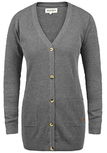 Baumwoll-strickjacke (DESIRES Sophia Damen Strickjacke Cardigan Feinstrick mit V-Ausschnitt aus 100% Baumwolle, Größe:M, Farbe:Med Grey Melange (8254))