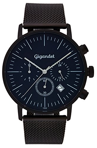 Gigandet Quartz Men's Quartz Watch with Milanese Minimalism III Dual Time Analog Date Stainless Steel Bracelet Black Blue G22 Boots