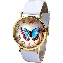 Sunnywill Mode Schmetterling Stil Leder Band Analog Quarz-Armbanduhr für Frauen Damen Mädchen