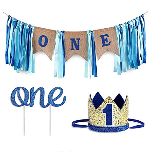 Geburtstag Boy Birthday Party Dekorationen Set blau Sackleinen Banner, Baby Foto Banner, Prince Crown Glitter Cake Topper Supplies ()
