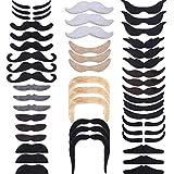 Hestya 48 Pièces Fausses Moustaches, Auto-Adhésif Moustache de Nouveauté Fiesta Partie Fournitures pour la Fête de la Mascarade (16 Styles Différents)
