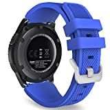 MoKo Gear S3 Frontier Smartwatch Bracelet en Silicone souple pour Samsung Galaxy Gear S3 Frontier   S3 Classic   Moto 360 2nd Gen 46mm Smart Watch, Pas compatible avec S2,S2 Classic,Fit2, Bleu Royal