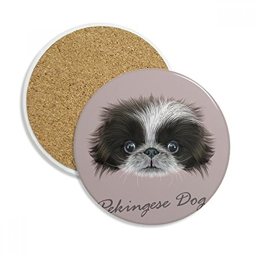 DIYthinker Schwarz und weiß Cute Pekingese Haustier Hund Tier Keramik Coaster-Schalen-Becher-Halter Absorbent Stein für Getränke 2ST Geschenk Mehrfarbig -