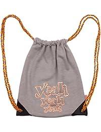 Preisvergleich für goldmarie Kinder Rucksack Stoff Yeah Motiv Stofftasche grau orange weiß