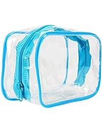 sourcingmap PVC Maquillaje Cosmético Higiene Transparente Viaje Baño Bolsa De Aseo Bolsa De Transporte - Azul, 15 x 10 x 6cm (Largo x Ancho x Alto)