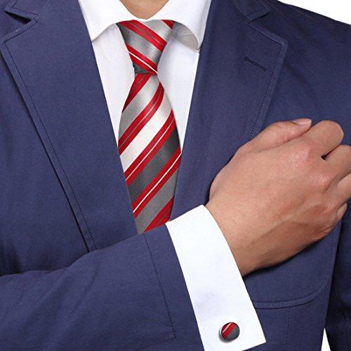 A1099 Crimson Grau Gestreift Web Waren Herren Rabatt F¨¹r Gesch?ft Seide Krawatte Manschettenkn?pfe Set 2PT Von Y&G (Waren Herren)