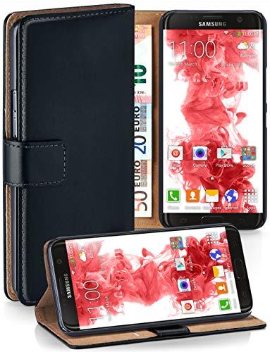 moex® Booklet mit Flip Funktion [360 Grad Voll-Schutz] für Samsung Galaxy S7 Edge | Geldfach und Kartenfach + Stand-Funktion und Magnet-Verschluss, Schwarz