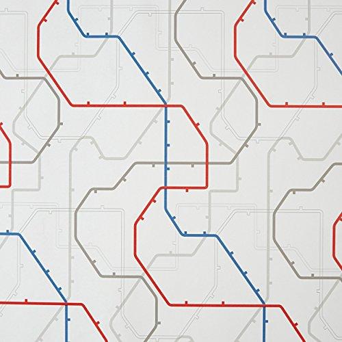 CASELIO ONLY Boys 64798092Vliestapete Streifen mit Inspiration in Londoner U-Bahnlinien mit weißem Hintergrund und Zeichnungen in blau, rot...