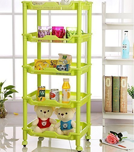 Sevia Foldable Multipurpose Vertical Space Plastic Rack 5 Layer Storage Organizer with Wheels for Kitchen // Home // Office Essential - Assorted Color