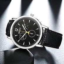 Relojes Hermosos, Analógico reloj de pulsera mecánico de la PU de los hombres ( Color : Blanco )
