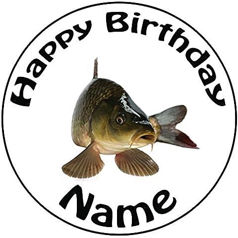Personalizzato per pesca alla carpa pesce–Topper per torta a pre-cut rotondo 8