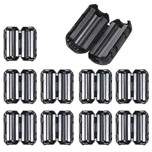 TianranRT 10 Stück schwarz Clip auf Klemme RFI EMI Lärm Filter Ferrit Core für 7/9 / 13mm Kabel (7mm)