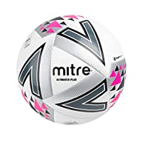 Mitre Unisex Ultimatch Plus Max Match Football, White/Silver/Pink, Size 5