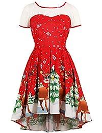 Lover-Beauty Damen Weihnachtskleid Weihnachten Drucken Ärmellos Rundhals Rockabilly Kleid Party Kleid