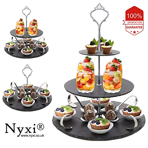 3 in 1 Cake Stand 100% Natural Slate Round Rough Edges Display with New Fittings, Can be Used as 3 Tier, 2 Tier & Single Tier Stand Based on Your Need