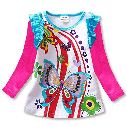 VIKITA Mädchen Langarm Baumwolle T-Shirt Top L3916FUCH 7T (Pailletten Langarm-shirt)