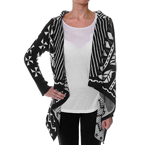 Damen Cardigan Bluse Stola Poncho Shirt Strick Lang 21472 Schwarz Größe S/M