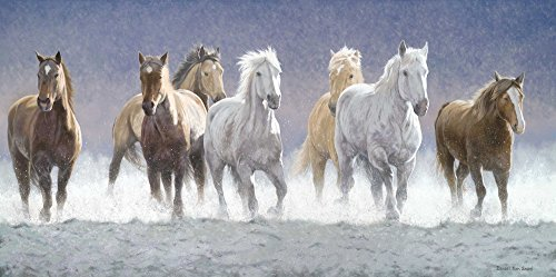 Tallenge - Horses Running Through The Waters - Oil Painting - Unframed Rolled A3 Size Poster (11.6x16.5 inches)  available at amazon for Rs.169
