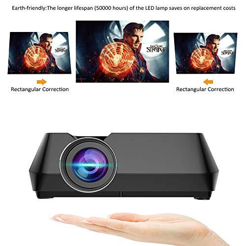 htfrgeds Beamer,Aktualisierte Mini LED Projektor,Helligkeit Full HD 1080P,unterstützt HDMI SD VGA AV für Laptop,Smartphone perfekt für Fußballspiele,Filme
