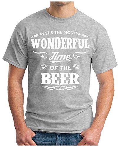 OM3 - WONDERFUL-BEER - T-Shirt GEEK, S - 5XL Grau Meliert