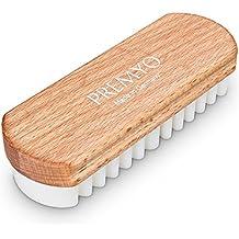 PREMYO Spazzola per scarpe scamosciate e la cura delicata di pelli camoscio, scamosciate, nabuk o velour. Ideale spazzola camoscio. Spazzola morbida crespa per l'attenta pulizia di ogni pelle