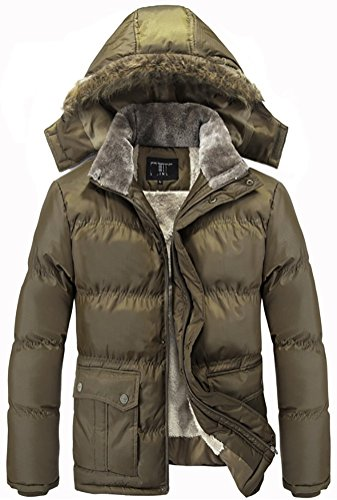 QZUnique Men's Winter Classic Hood Coats Fleece Lining Jackets XL