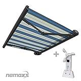 Nemaxx FCA35X Vollkassettenmarkise mit Licht- und Windsensor 3,5m x 2,5m hellblau-weiß: Kassettenmarkise für optimale Beschattung aus UV-beständigem und wetterfestem Acryltuch - Markise in grauer Kassette - nach DIN EN 13561