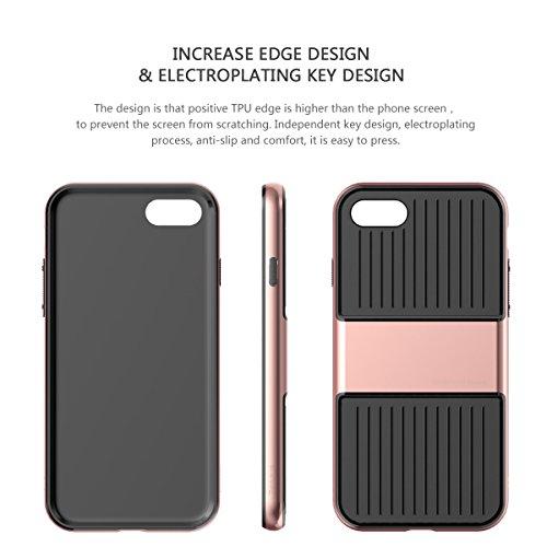 iPhone 7 Hülle, IVSO 2in1 Ultra Slim Silikon Rückseite Schutzhülle, mit Advanced Shock Absorption Technology hülle für Apple iPhone 7 4.7 Zoll Smartphone, Rose Golden Rose Golden