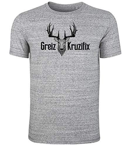 Trachten T-Shirt Greiz Kruzifix Bio Baumwolle S-3XL Trachtenshirt Oktoberfest Bayrisch Wiesn Lederhosen Männer Herren Hirsch Österreich (Heather-Blue-Schwarz, L)