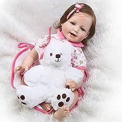 CUTDOLL Reborn Bébé Poupée Silicone Fille Réaliste Nouveau-Né Baby Doll Magnétique Bouche Lifelike Toddler Babies 55 cm