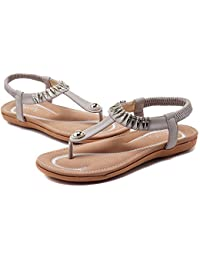 617ed4dc7e38a Socofy Women Summer Low Flat Heel Flip Flop Sandals Slip On Post Thong Boho  Shoes with Rhinestone Roman Sandals Comfy Shoes Clip…