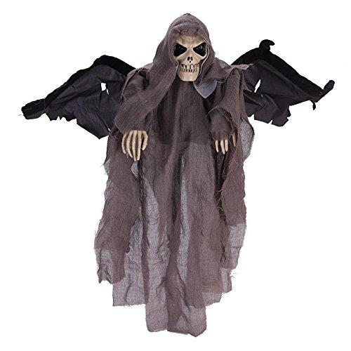 tman mit Flügel für Damen Herren Kinder Jungen Halloween Kleidung Geist Schall Kapuze Maske Horror Zombie Teufel Halloween Mantel Vampir umhang für Karneval Party Cosplay Grau ()