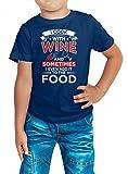 Kochen Premium T-Shirt Cook with wine Premium T-Shirt Grillen Barbecue BBQ Kinder Shirt, Farbe:Dunkelblau (French Navy L190k);Größe:8 Jahre (118-128 cm)