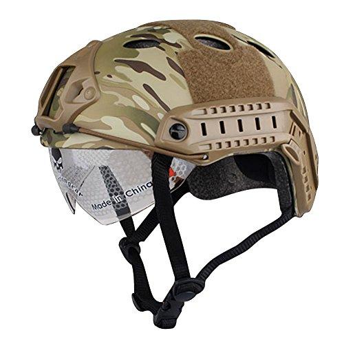 Preisvergleich Produktbild Airsoft SWAT Helm Kampfsport Jagd Helme Skateboard Helm Multicam MC W mit Schutzbrille für Training Search Rettungsmaßnahmen,  Klettern Helme Scooter Helme oder andere Outdoor Sports Helm Helme