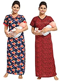 eee24a3e81 TUCUTE Women Beautiful Print with Invisible Zip + Floral Print  Feeding Maternity Nursing Nighty