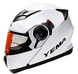Yema YM-925 Motorradhelm Klapphelm mit Doppelvisier-Wei