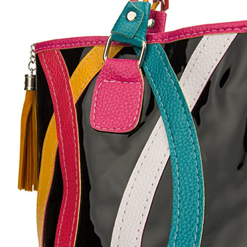 VanGoddy Harmony Serie Moda banda dellarcobaleno Tote Borsetta Top Handle Bag spalla Shopper (Stile 105) Stile 105