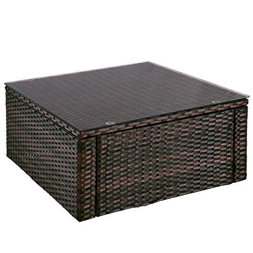 Rattantisch | Hochwertiger Polyrattan Tisch | Teetisch | Beistelltisch mit Glas | Farbwahl | Gartentisch | Tischplatte aus Glas | Lounge-Tisch (Braun)