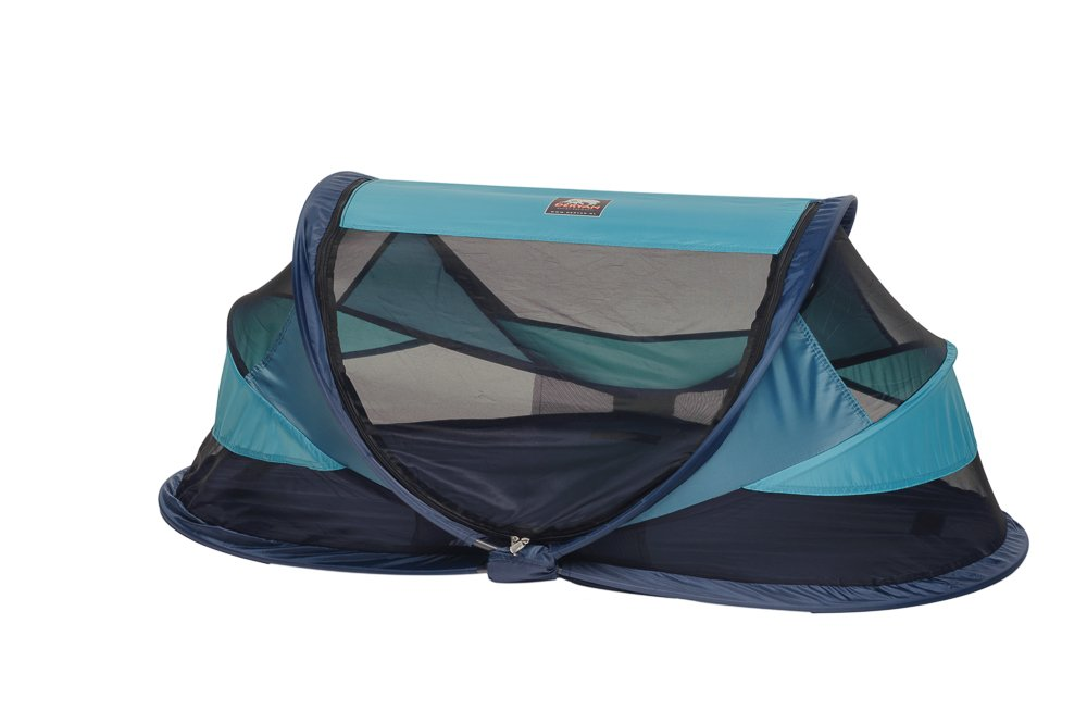 Travel Cot Baby Luxe (Ocean) Deryan 50% UV Protection and flame retardant fabric Setup in 2 seconds and a anti-musquito net  2
