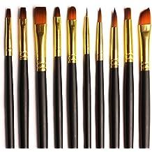 Set 10 pennelli per artisti su misura dorati in Nylon assortiti per pittura ad acquerello, acrilici e a olio - Setole morbide di qualità in un'elegante custodia con