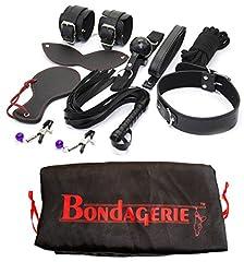 Idea Regalo - BONDAGERIE® BDSM Kit 8 Pezzi + Sacco in Raso, Manette frustino benda corda collare pinze capezzoli