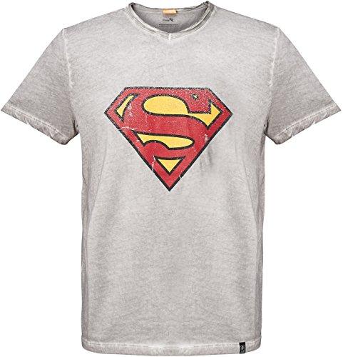 GOZOO Superman T-Shirt Herren Vintage Logo 100% Baumwolle Grau L (Steel Vintage-t-shirt)