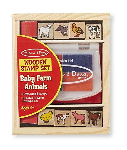 Melissa & Doug Holzstempel-Set Tierkinder auf dem Bauernhof (9 Teile) (Doug Und Melissa Holz-blöcke)
