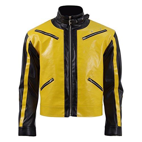 m Cosplay Gelb T-Shirt Leder Fliegerjacke für Männe (Mehrfarbig, S) (Leder Jacke Herren Kostüm)